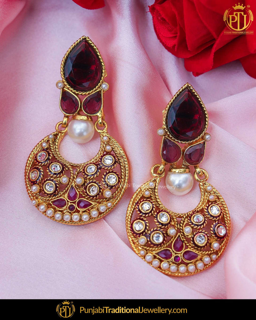 Gold Finished Jerkan Stone Purple Earrings | Punjabi Traditional Jewellery Exclusive