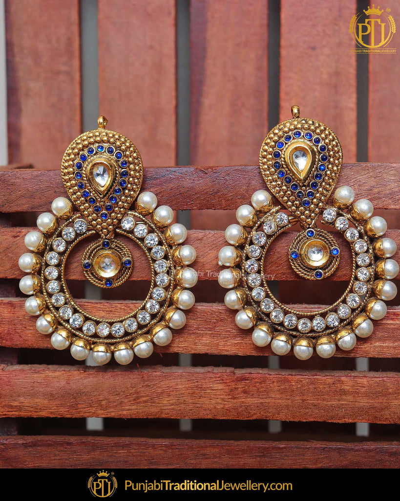 Gold Finished Jerkan Stone Blue Earrings | Punjabi Traditional Jewellery Exclusive