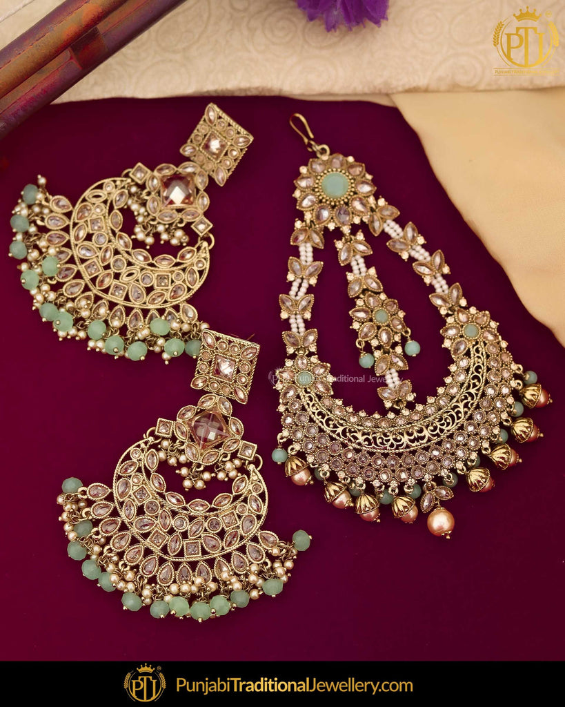 Gold Finished Champagne Stone Pearl Pistachio Green Earrings & Passa | Punjabi Traditional Jewellery Exclusive