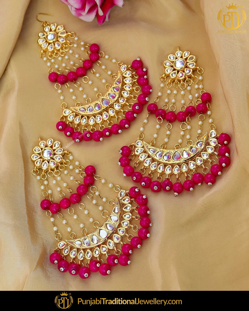 Gold Finished Pink Kundan Pearl Earrings With Passa | Punjabi Traditional Jewellery Exclusive