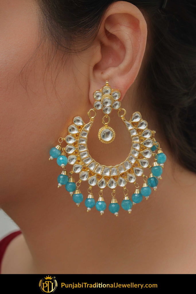 Amreen Firozi Kundan Earrings | Punjabi Traditional Jewellery Exclusive