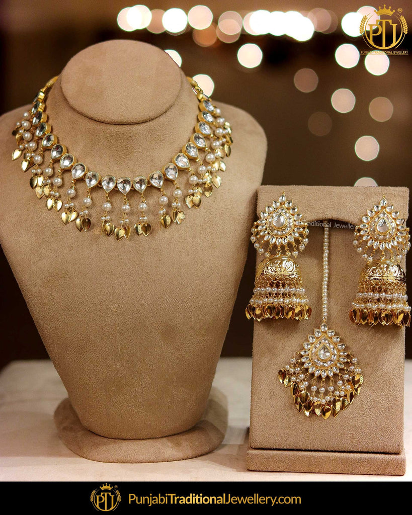 Gold Finished Kundan Pearl Pippal Patti Necklace Set | Punjabi Traditional Jewellery Exclusive