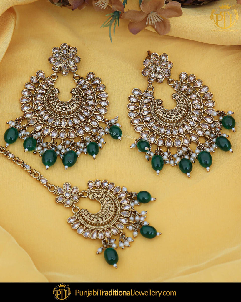 Antique Gold Finished Pearl Emerald Champagne Stone Earring Tikka Set | Punjabi Traditional Jewellery Exclusive