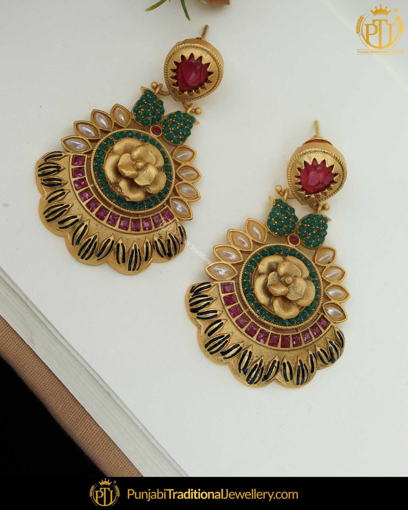 Gold Finished Emerald Rubby Matt Gold Pearl Earrings | Punjabi Traditional Jewellery Exclusive