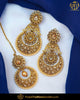 Gold Finished Chamapgne Stone Pearl Earring Tikka Set | Punjabi Traditional Jewellery Exclusive