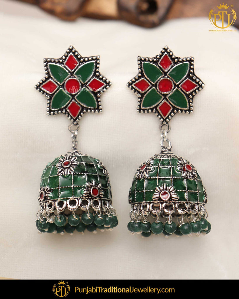 Hand Painted Emerald Rubby Jhumki Earrings | Punjabi Traditional Jewellery Exclusive