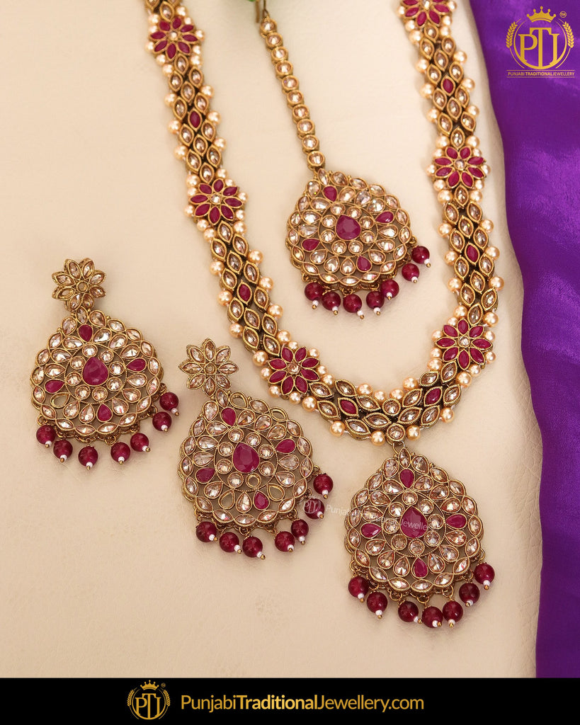 Gold Finished Champagne Stone Rubby Pearl Long Necklace Set | Punjabi Traditional Jewellery Exclusive