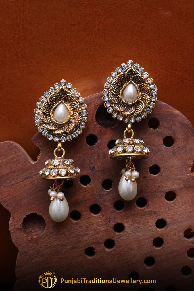 White Antique Gold Polki Earrings By Punjabi Traditional Jewellery