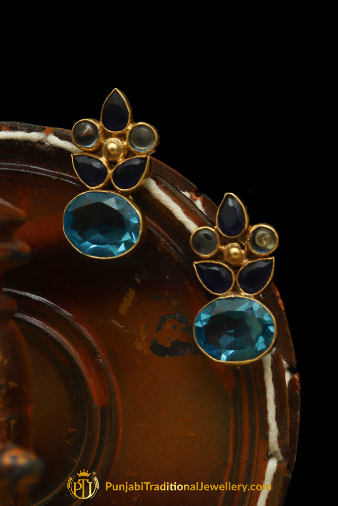 Gold Finished Firozi & Blue Polki Earrings By Punjabi Traditional Jewellery