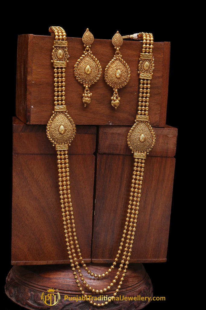 Golden Antique Gold long Necklace Set By Punjabi Traditional Jewellery