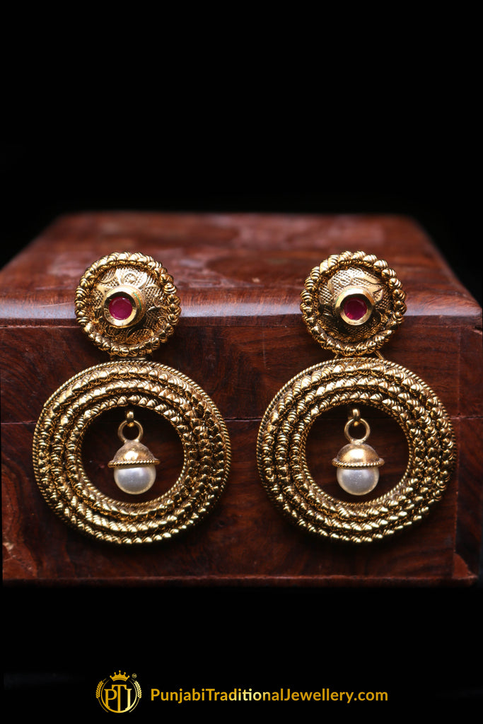 Red Antique Gold Earrings By Punjabi Traditional Jewellery