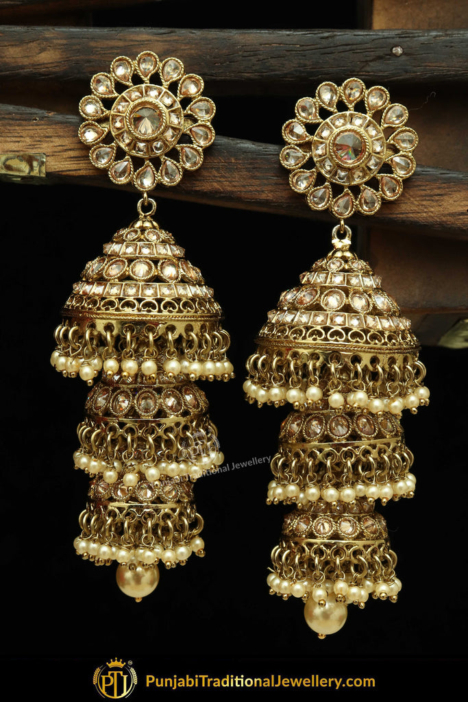 Gold Finished Pearl Jhumki Champagne Stone Earrings | Punjabi Traditional Jewellery Exclusive