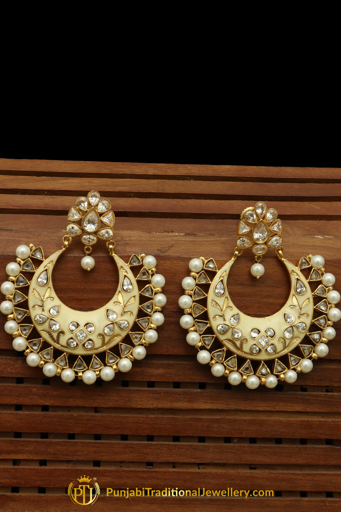 Hand Painted Meena Polki Pearl Earrings By Punjabi Traditional Jewellery