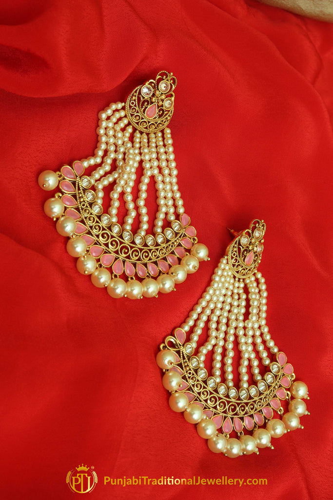 Pink Polki Pearl Jhumar Earrings By Punjabi Traditional Jewellery