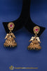 Green Red Antique Gold, Jhumki & Polki Earrings By Punjabi Traditional Jewellery