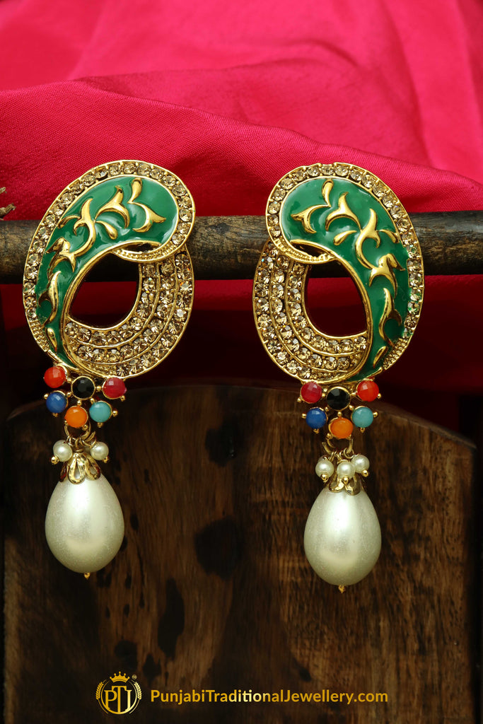 Multi Polki Pearl Earrings By Punjabi Traditional Jewellery