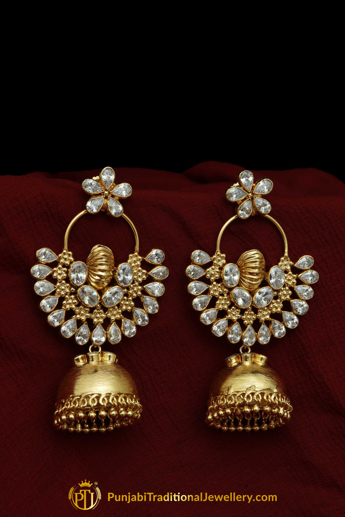 Gold Finished American Diamond Jhumki Earrings By Punjabi Traditional Jewellery