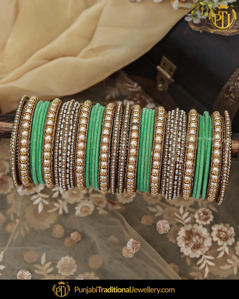 Antique Gold Green Pearl Bangles Set For Both Hands | Punjabi Traditional Jewellery Exclusive