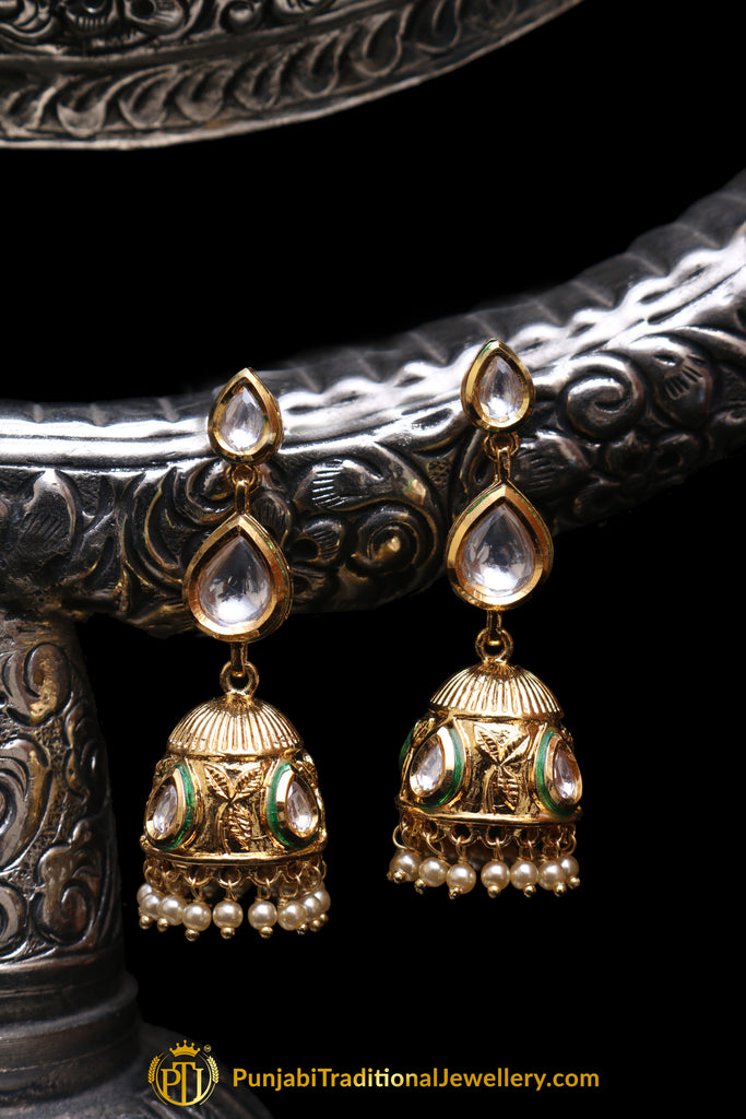 Kundan Jhumki Earrings By Punjabi Traditional Jewellery