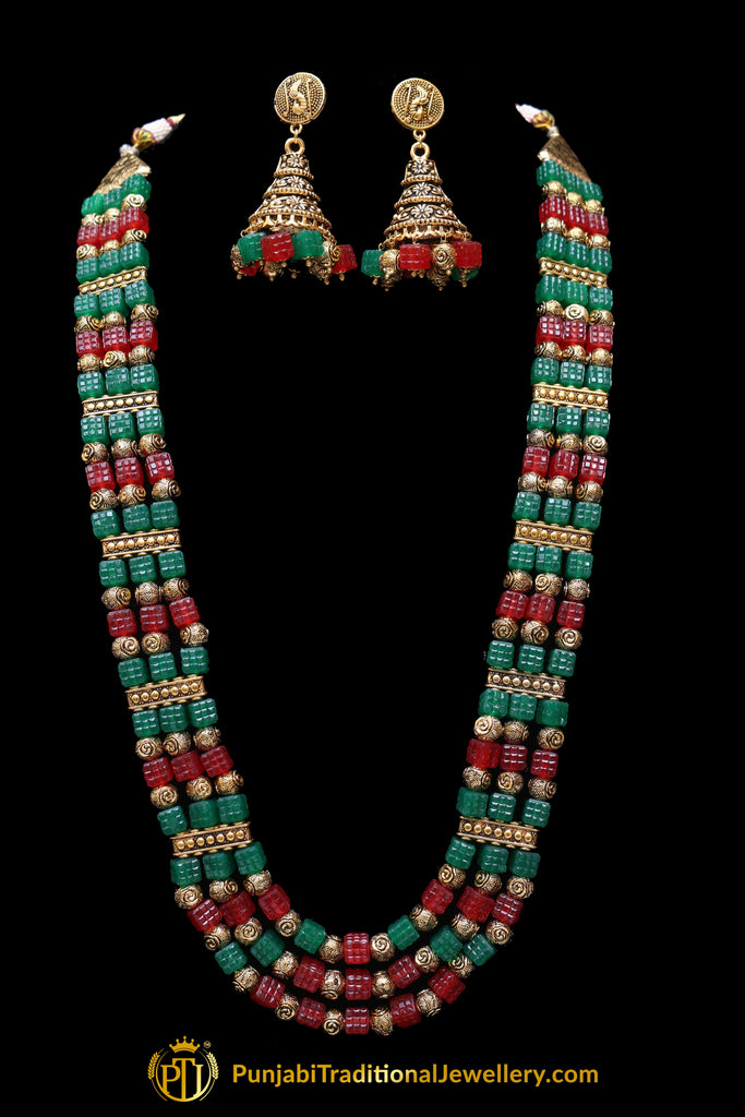 Maroon Green Antique Gold Necklace Set By Punjabi Traditional Jewellery