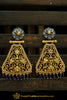 Blue Gold Plated & Champagne Stone Earrings By Punjabi Traditional Jewellery