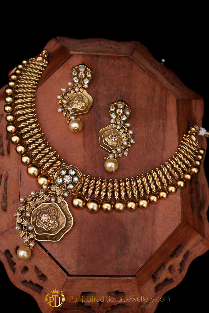 Polki Antique Gold Necklace Set By Punjabi Traditional Jewellery