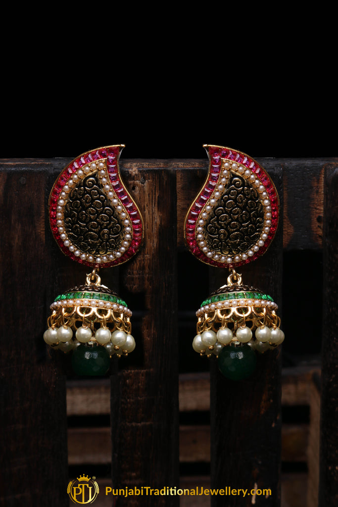 Green Antique Gold Earrings By Punjabi Traditional Jewellery
