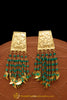 Gold Finished Emerald Pippal Patti Earrings By Punjabi Traditional Jewellery