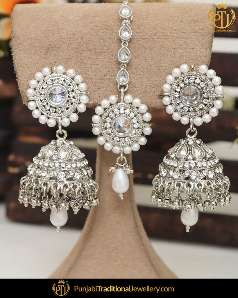 Silver  Finished Polki Earring Tikka Set | Punjabi Traditional Jewellery Exclusive