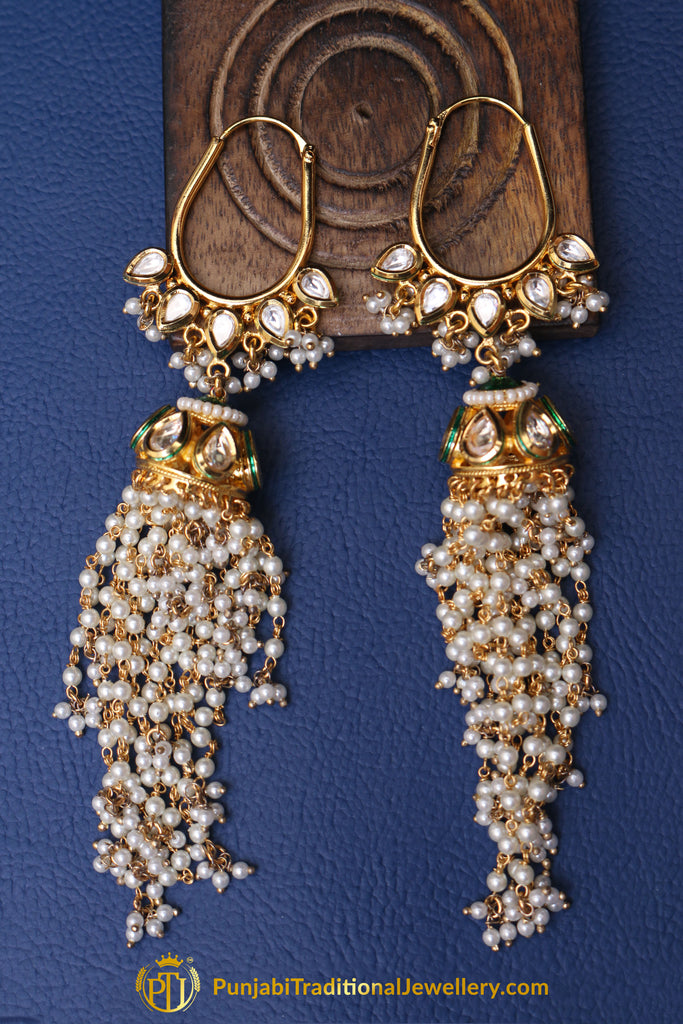 Kundan & Pearl Earrings By Punjabi Traditional Jewellery