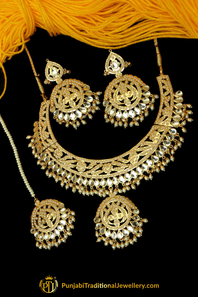 Kundan Jadau Necklace Set By Punjabi Traditional Jewellery