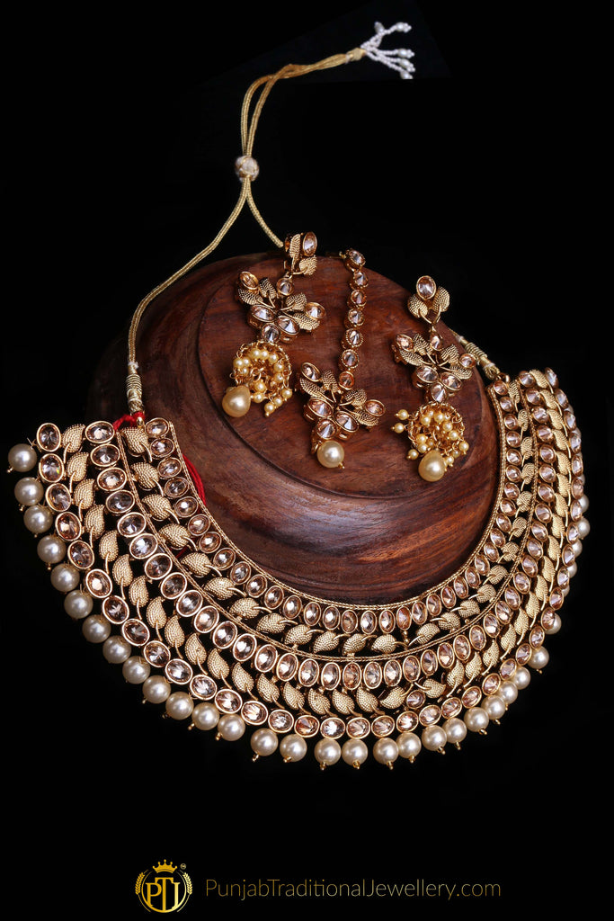 Choker Antique Gold Necklace Set By Punjabi Traditional Jewellery