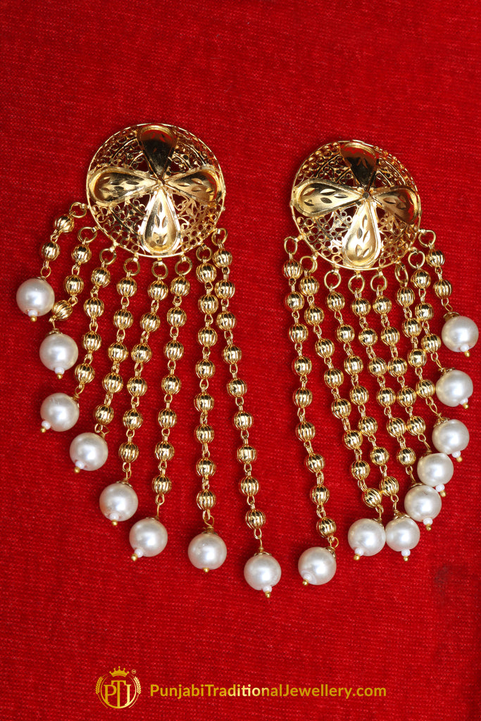 Golden Pearl Gold Plated Earrings By Punjabi Traditional Jewellery