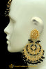 Black Kundan Earring Tikka Set By Punjabi Traditional Jewellery