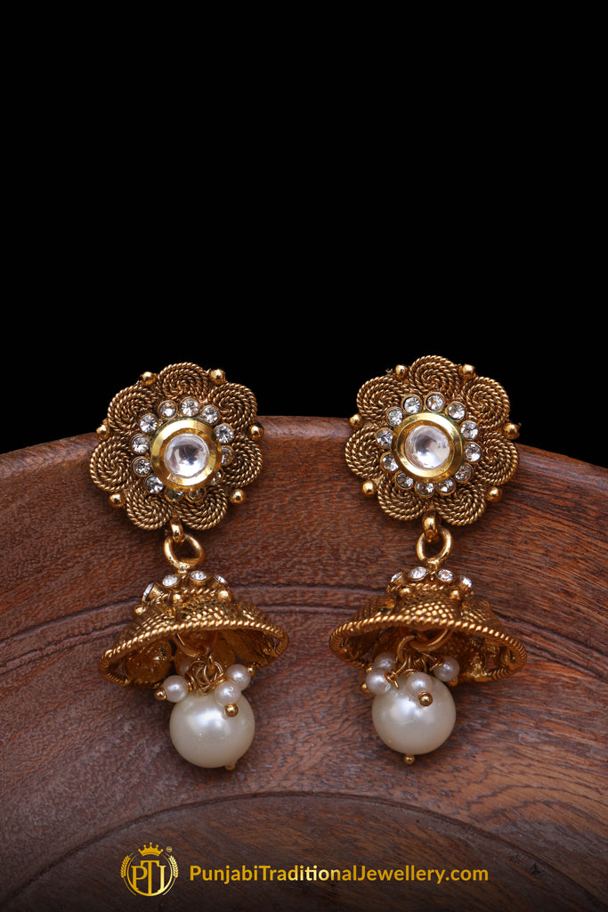 Pearl Jhumki Earrings By Punjabi Traditional Jewellery
