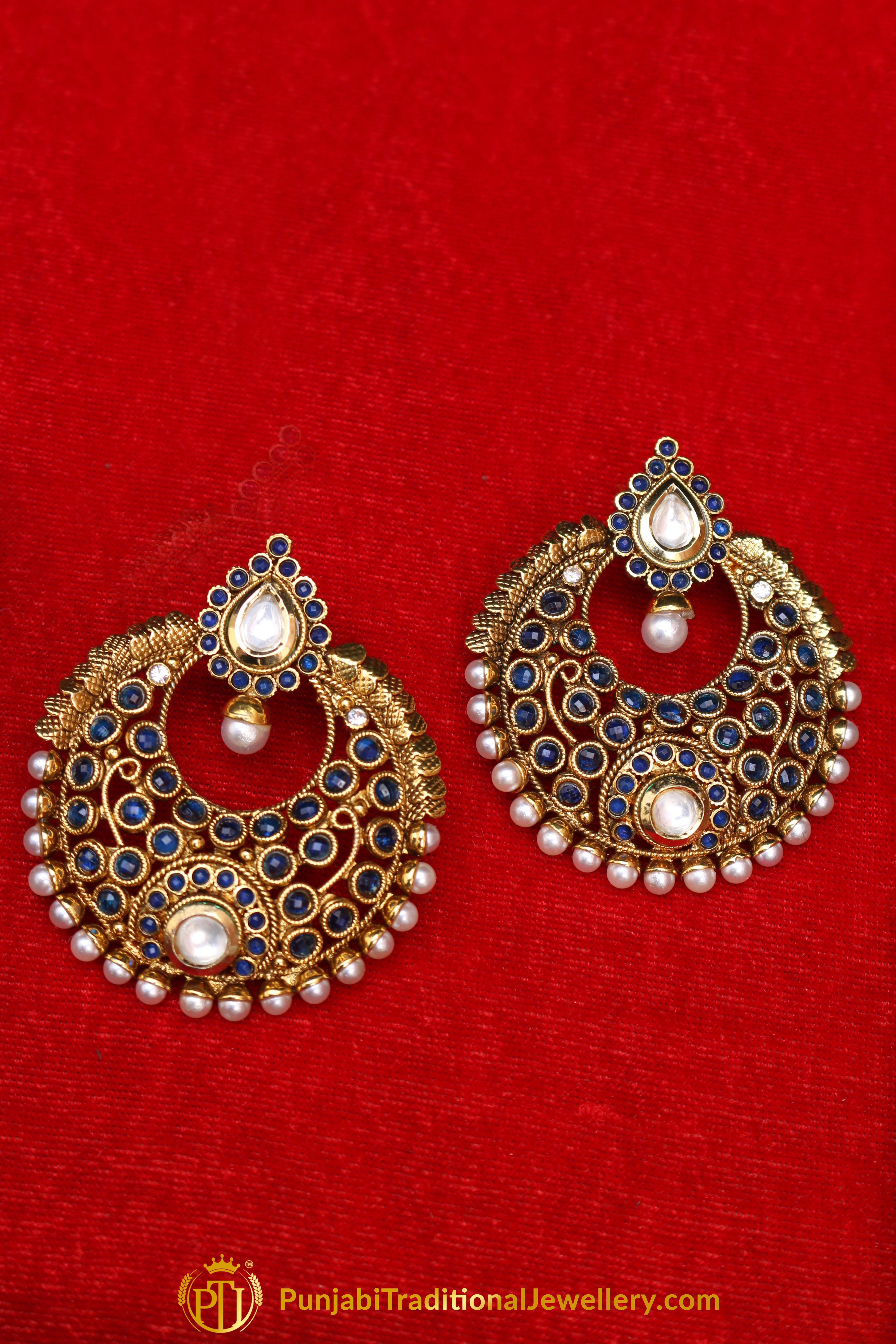 Blue Pearl, Polki & Antique Gold Earrings By Punjabi Traditional ...