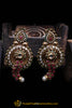 Red Green Antique Gold, Pearl Earrings By Punjabi Traditional Jewellery