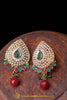 Red Green Polki Earrings By Punjabi Traditional Jewellery