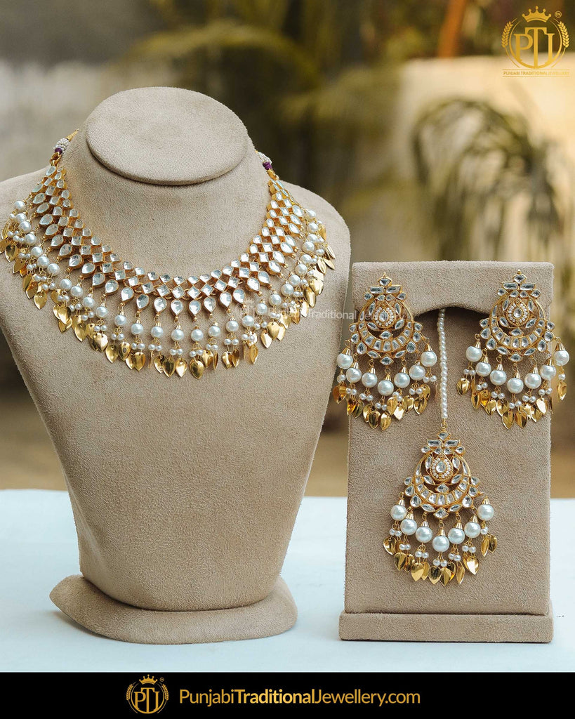 Gold Finished Pearl Pippal Patti Kundan Necklace Set | Punjabi Traditional Jewellery Exclusive
