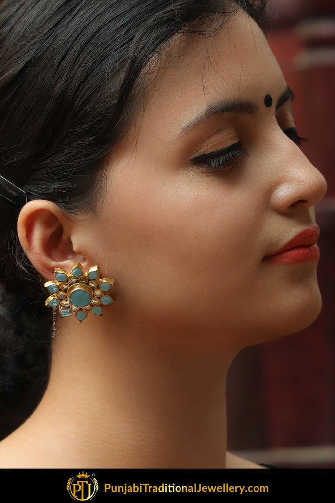 Gold Finished Pearl Firozi Stud Earrings | Punjabi Traditional Jewellery Exclusive