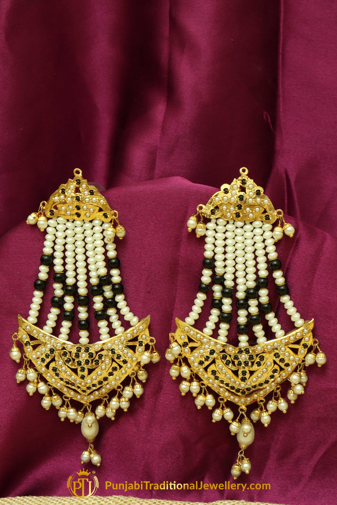 Black Jadau Pearl Jhumar Earrings By Punjabi Traditional Jewellery