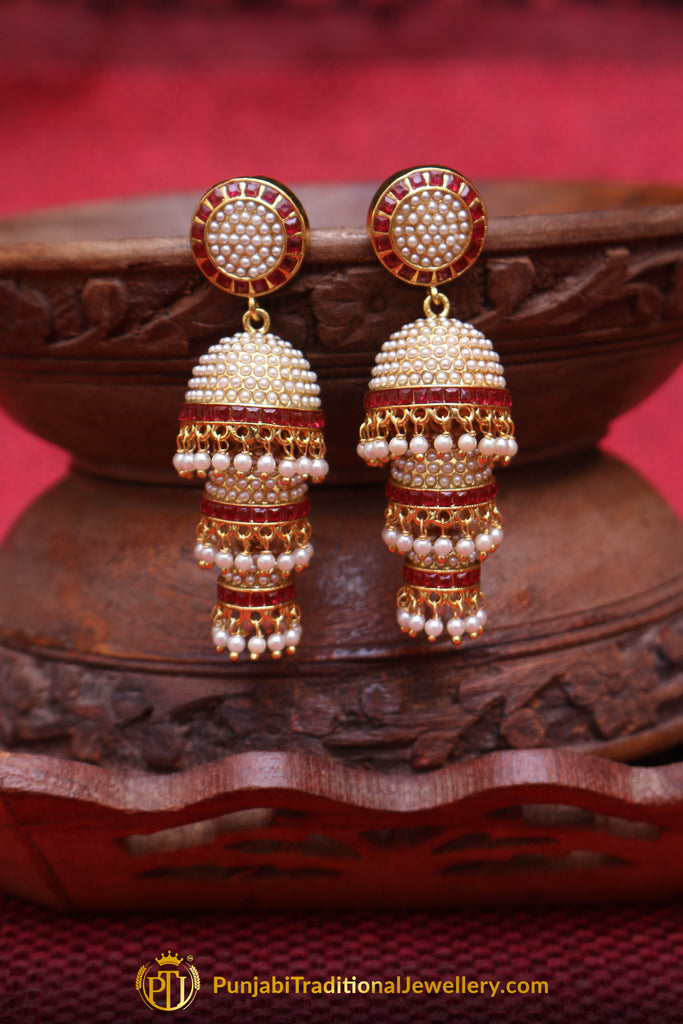 Azra Jhumki & Pearl Rubby Earrings By Punjabi Traditional Jewellery