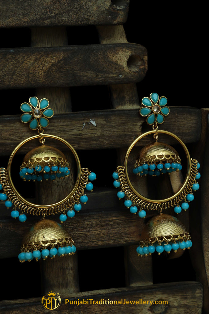 Firozi Matt Gold Earrings By Punjabi Traditional Jewellery