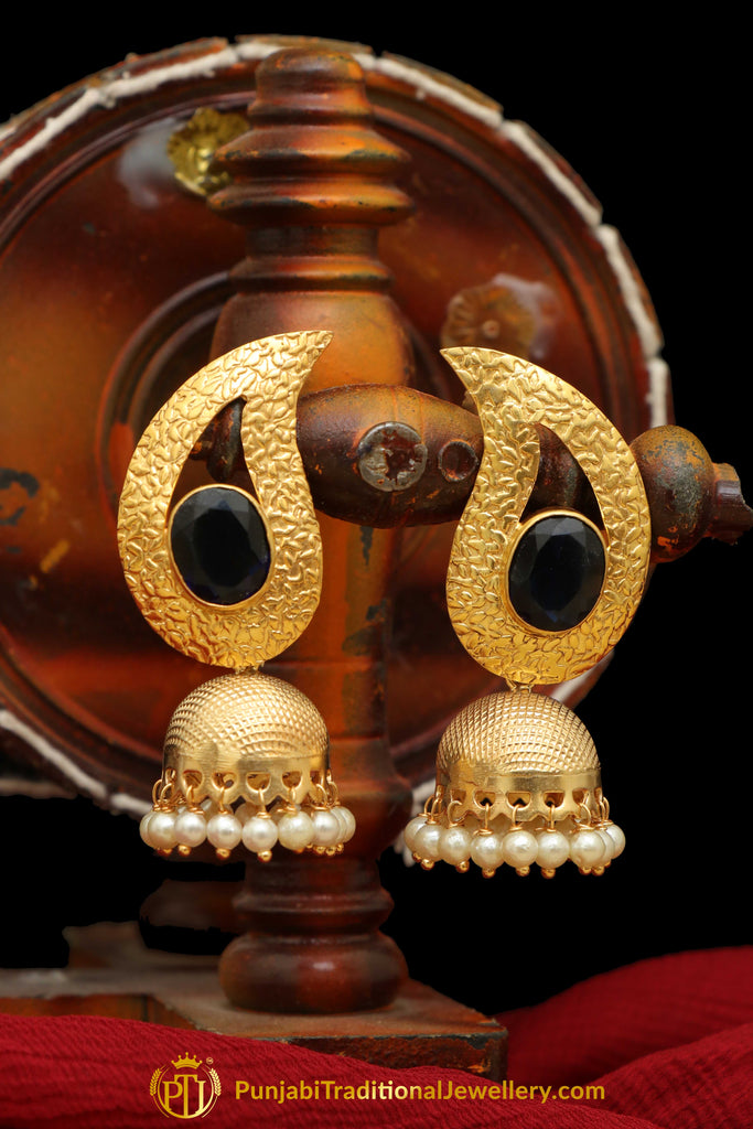 Gold Finished Black Jhumki Earrings By Punjabi Traditional Jewellery
