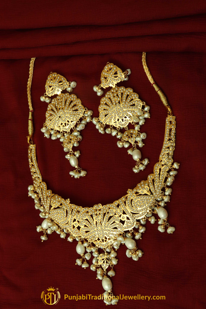Golden Jadau Pearl Necklace Set By Punjabi Traditional Jewellery
