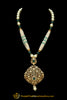 Green Pearl Kundan Matt Gold Necklace Set By Punjabi Taditional Jewellery