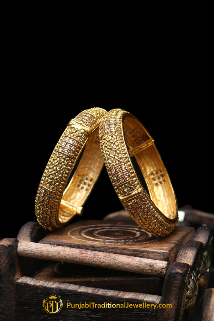 Gold Finished Champagne Stone Karra Bangles (Pair) By Punjabi Traditional Jewellery