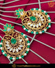 Gold Finished Emerald Kundan Pearl Earrings | Punjabi Traditional Jewellery Exclusive