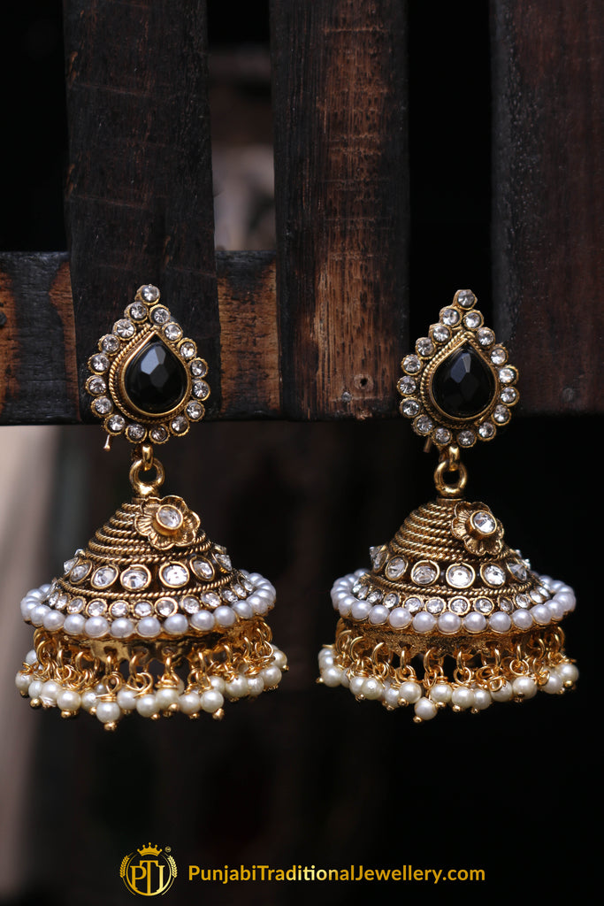 Blue Pearl, Jhumki & Polki Earrings By Punjabi Traditional Jewellery