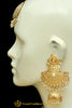Golden  Jadau & Kundan Earrings Tikka Set By Punjabi Traditional Jewellery
